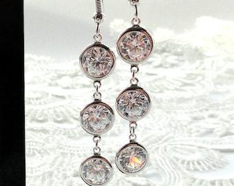 Swarovski Crystal earrings Wedding earrings Swarovski earrings Bridal earrings Bridesmaid earrings Long Dangle earrings Teardrop earrings