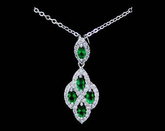 Emerald Green Stones Necklace Green Jewelry Gift for Mother of the Groom Dainty Necklace Zirconia Necklace Emerald Pendant Emerald Necklace