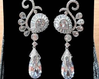 Wedding Earrings Chandelier Earrings Bridal Earrings Silver Earrings Bridal Jewelry Long Teardrop Earrings Dangle Earrings Crystal Earrings