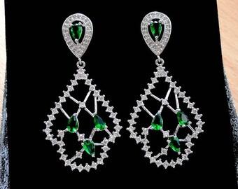 Bridal Earrings Crystal Wedding Earrings Emerald Green Earrings Bridal Jewelry Statement Earrings Drop Dangle Earrings Chandelier Earrings j