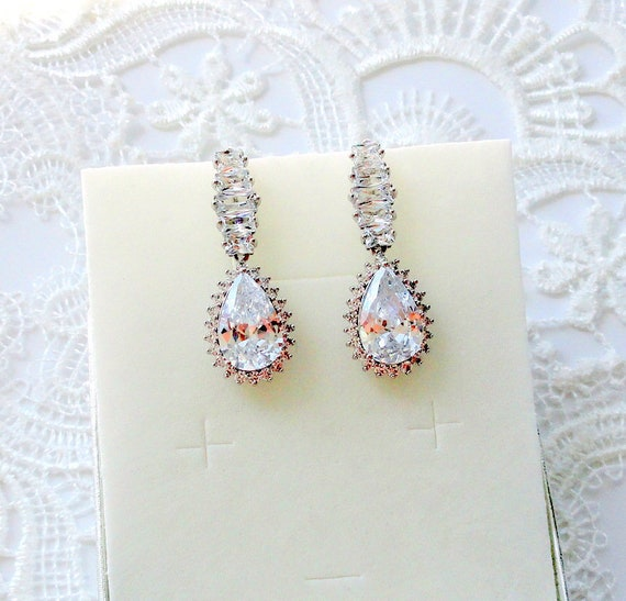 Bridal Earrings Drop Earrings Crystal Wedding Earrings For Etsy