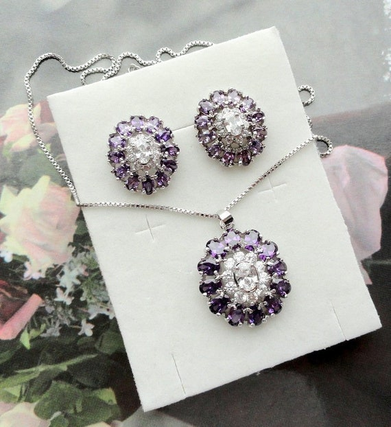 96cb9969a3a Purple Vintage Jewelry Set Wedding jewelry Gift for women