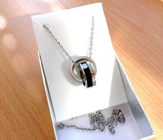 Steel Chain Necklace For Men Two Ring Necklace Gift For Etsy