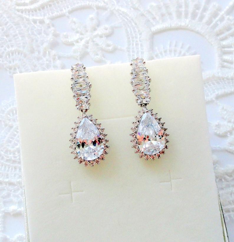 Bridal Earrings Drop Earrings Crystal Wedding Earrings For Etsy