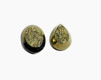 high quality pyrite druzy cabochon  11.5 gm 2 pcs  GM 630