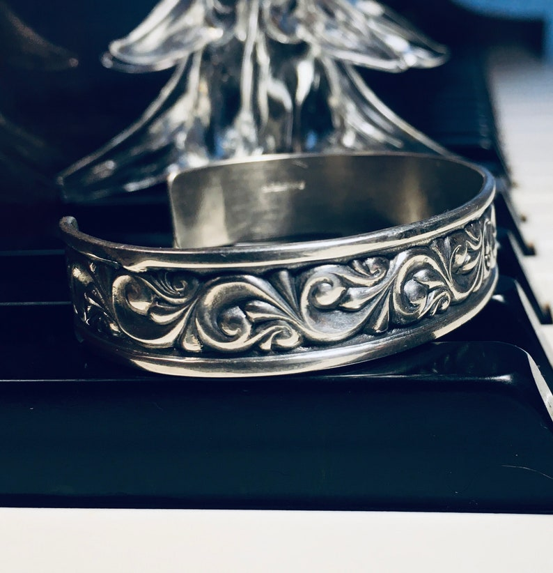 Vintage Ed Levin Victorian Scroll Sterling Silver Cuff Bracelet Signed 19g Fits 5 34 to 7      Ed Levin Jewelry More At PianoBarVintage