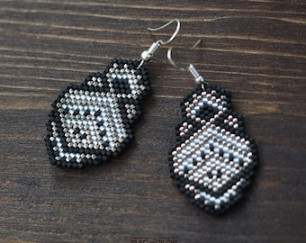 Ethnic black silver nickel jewelry Seed bead peyote dangle earrings Geometric beadwoven earrings Beadwork hanging boho statement earrings