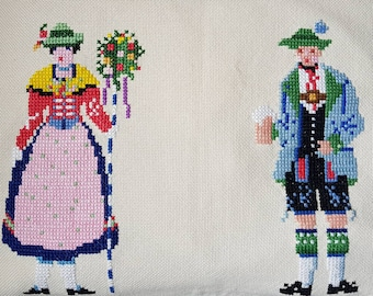 Bavarian Summer Fest Vintage German Accent Pillow Cross Stitched Couple in Traditional Attire Guesthouse Decor Handmade Folk Art Cushion