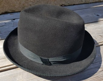 Leave Your Hat On Vintage German Fedora Black Luxor Rein Haar Unisex Hat  Fall Accessory Mad Men Style Size 56 cm Costume Item Shipping Inc 5c0bbc5895dc
