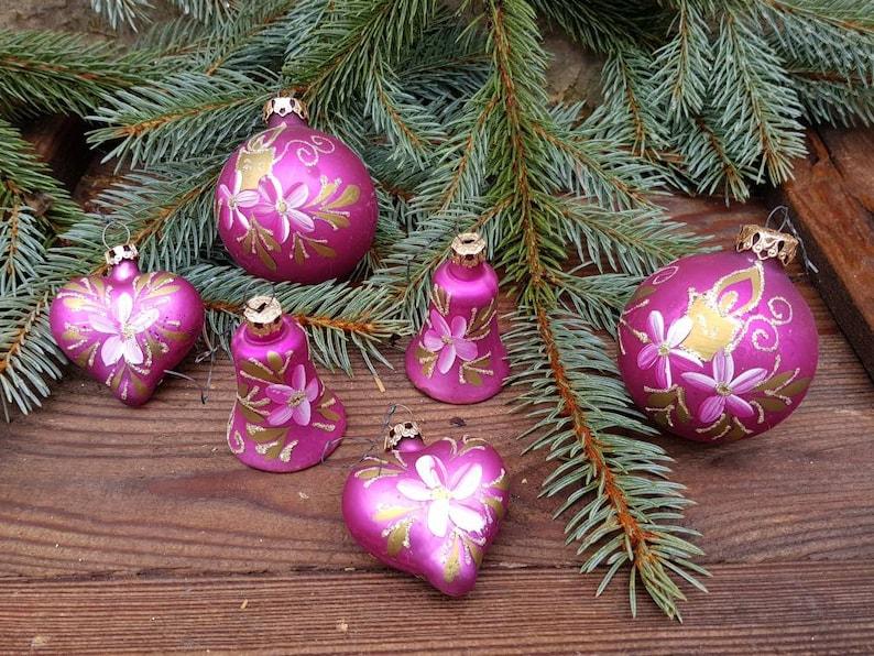 Pretty in Purple Vintage German Mercury Glass Hand Painted Christmas Ornaments Set of 6 Christmas Tree Decor Hearts Bells Balls Ship Inc