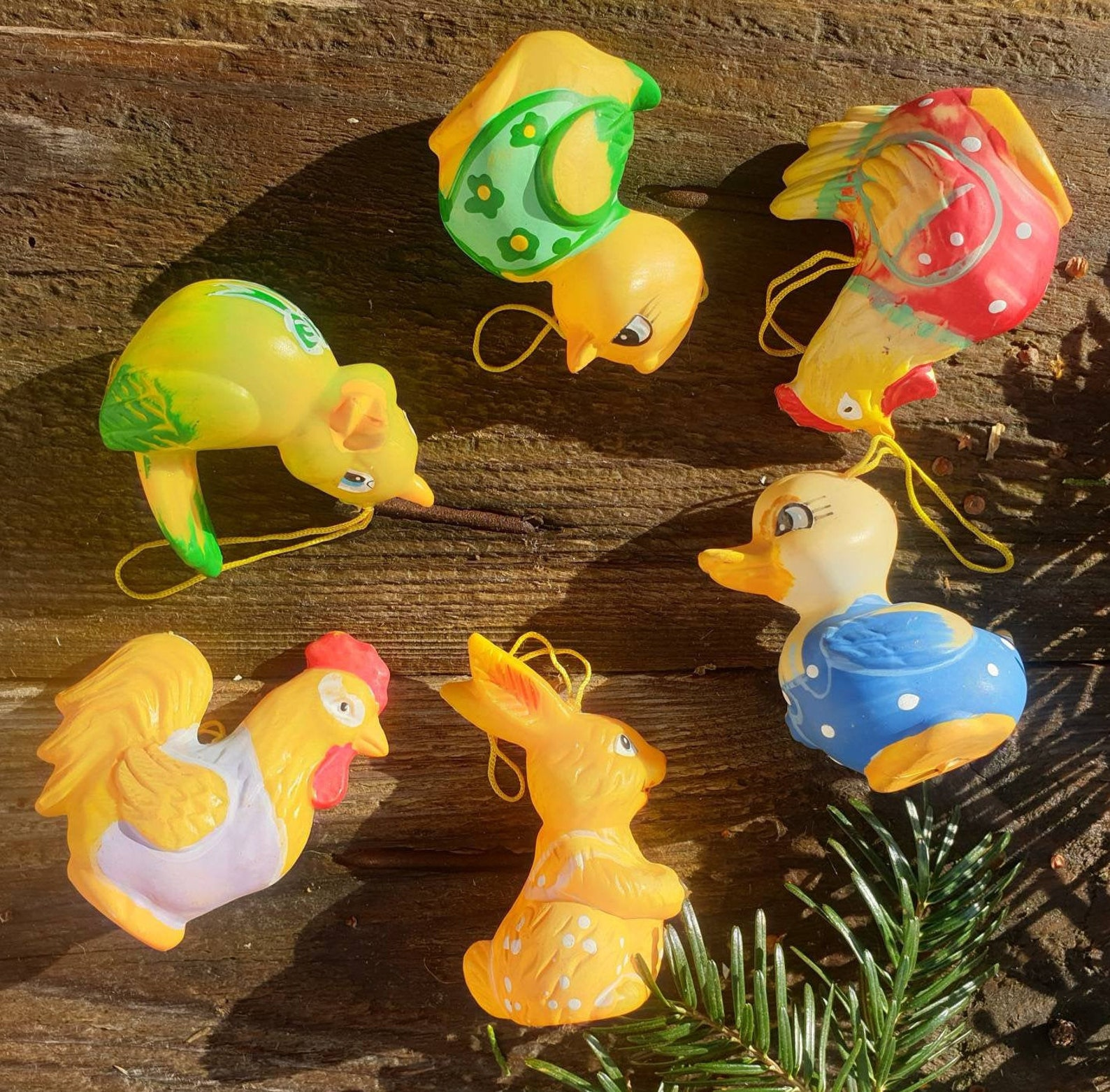 A Lively Crew Vintage German Easter Ornaments Set of 6