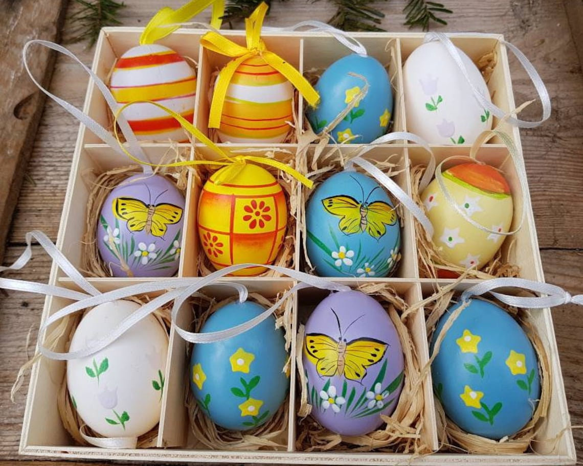 Delightful Dozen Vintage German Easter Egg Ornaments Lot of 12 Easter Tree Ornaments Easter Decor Butterflies Flowers Shipping Included
