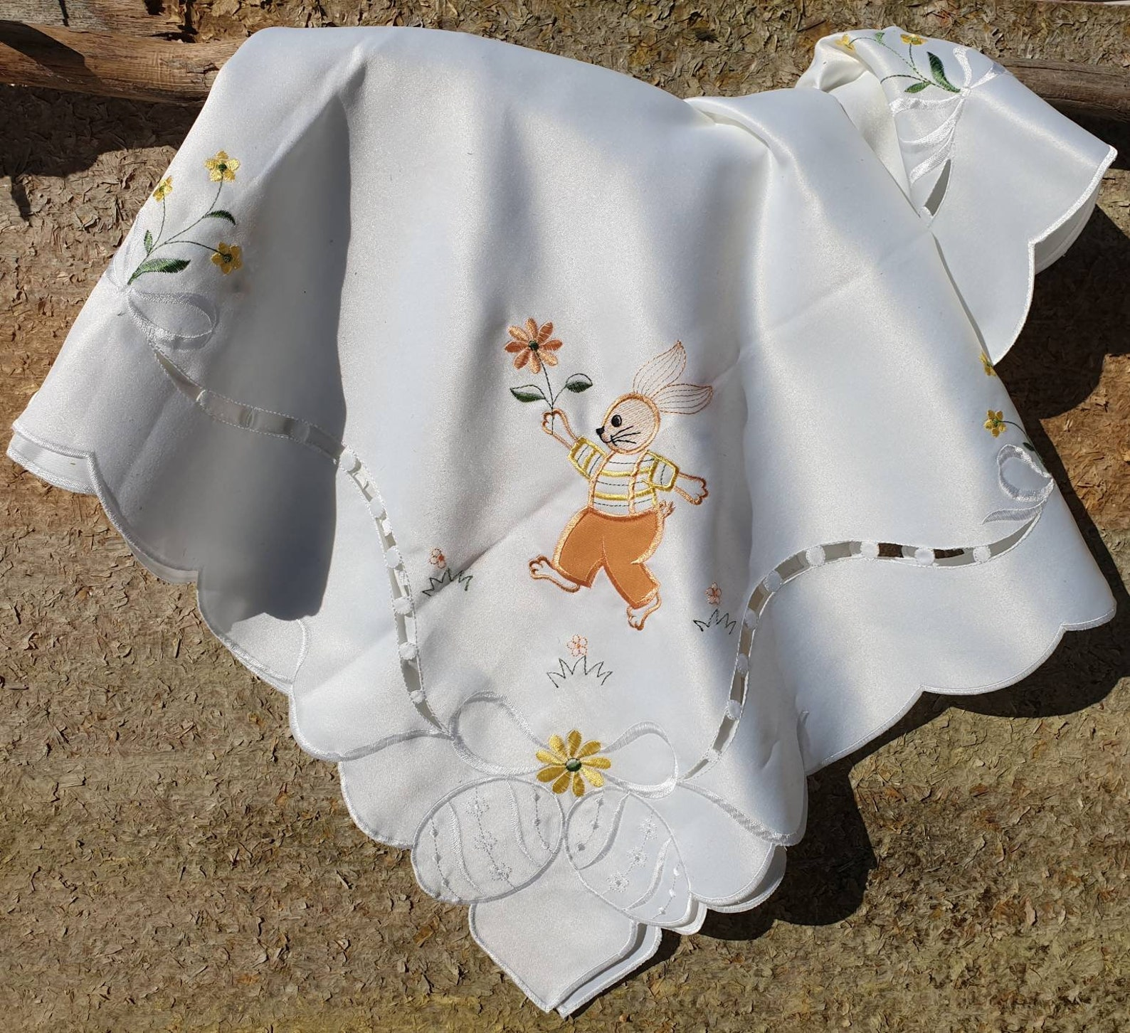 ere Comes Peter Cottontail Vintage German Easter Table Square Spring Easter Decor Easter Bunny Tablecloth Boy Baby Shower Shipping Included