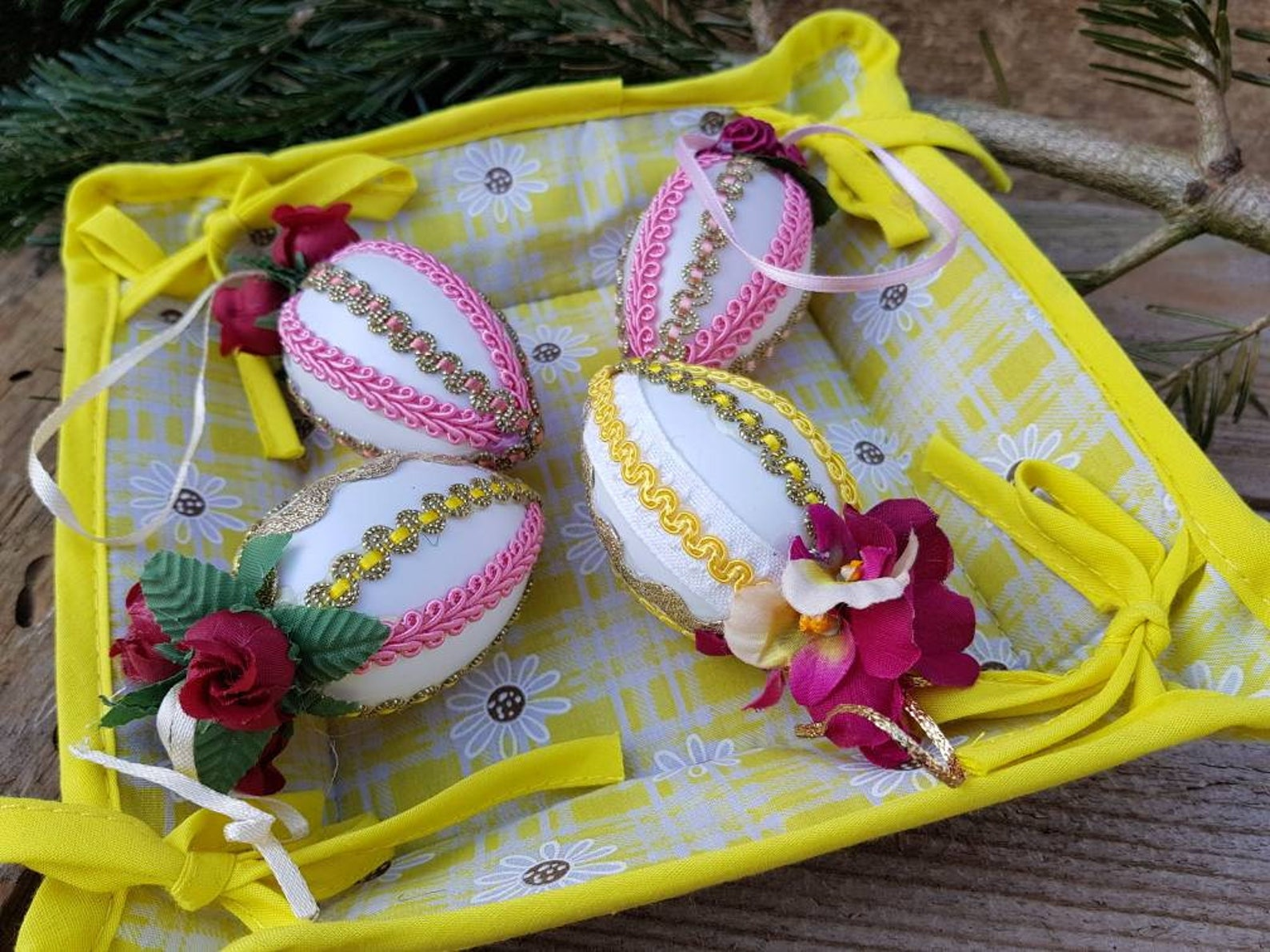 Vintage German Easter Eggs Handmade Mid Century Lot of 4 Ornaments Easter Tree