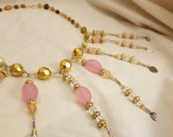 Pink and Gold fringe Necklace