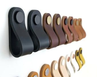 Leather drawer pulls / Leather pulls / Dresser handles / Leather door handle / Cupboard pulls