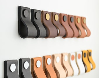 Leather drawer pulls / Leather pulls / Dresser handles