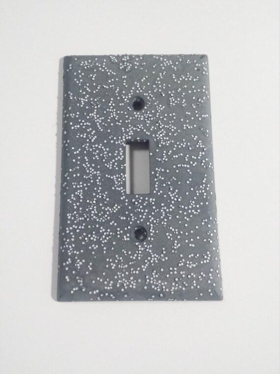Matte Gray Opaque White Glitter Decorative Light Switch Plates Rockers Outlet Covers Unique Minimalist Industrial Steampunk Decor