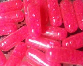 20 Neon Fluorescent HOT PINK Glitter Pills /Organza Bag / Sparkle Capsules / Glitter Bombs / Bachelorette Party/ Joke Gag Gift /Raver Favors