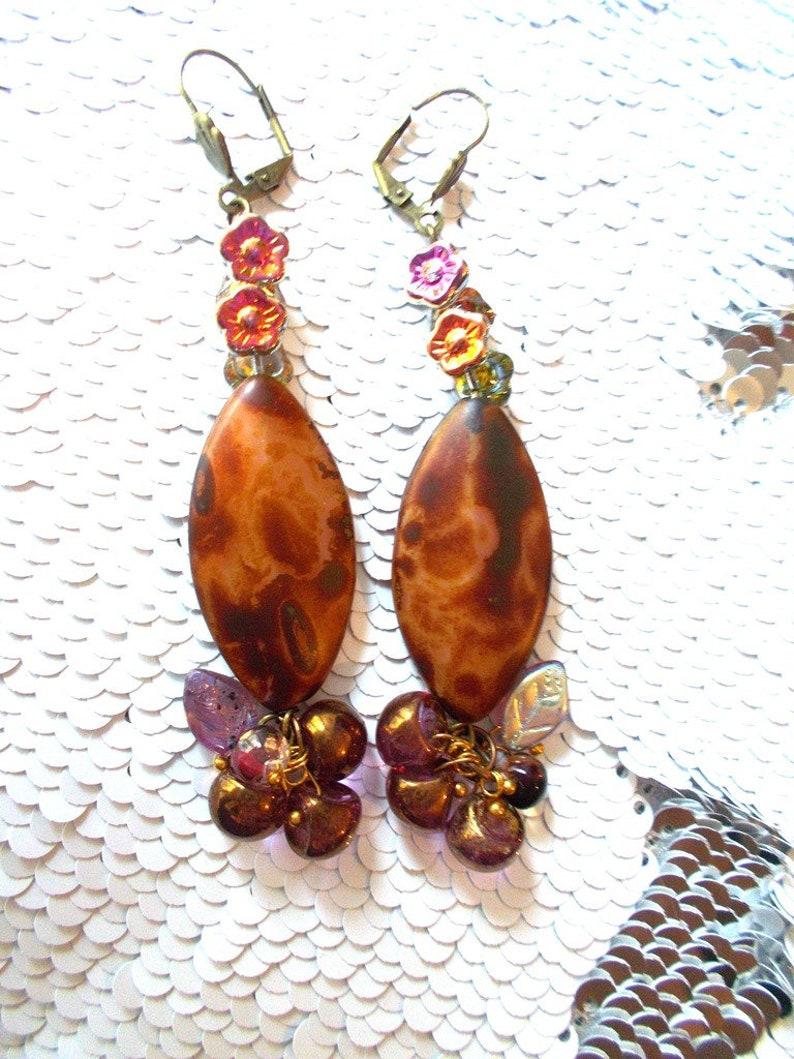 boho chic fully Czech beaded boho earrings