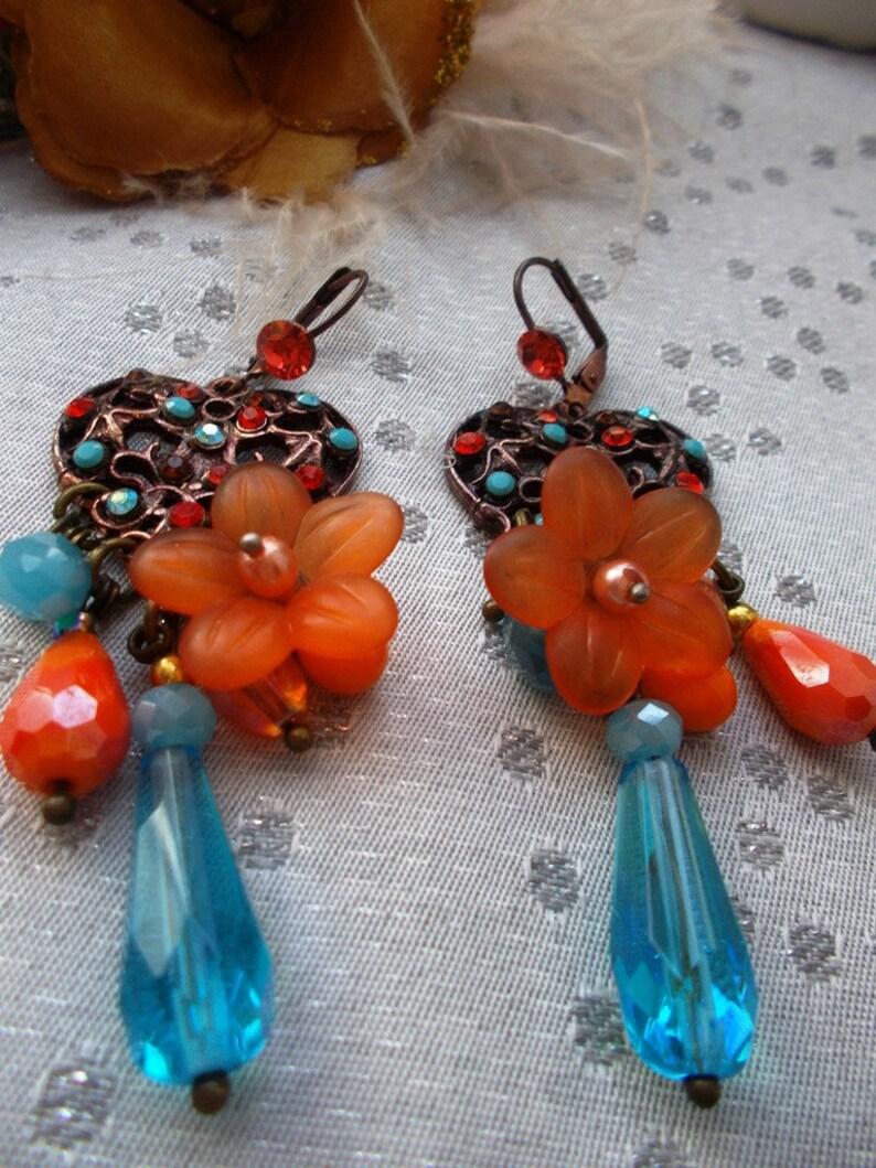 boho swarovksi orange earrings and blue drop orange and blue glass