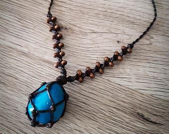 Blue howlite crystal macrame choker necklace