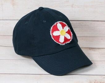 2681b2a711336 Womens navy blue baseball cap with handmade flower decal