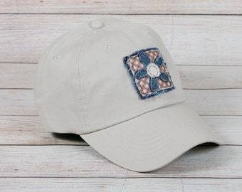 f77a3984e12 Womens khaki baseball cap with patriotic flower decal
