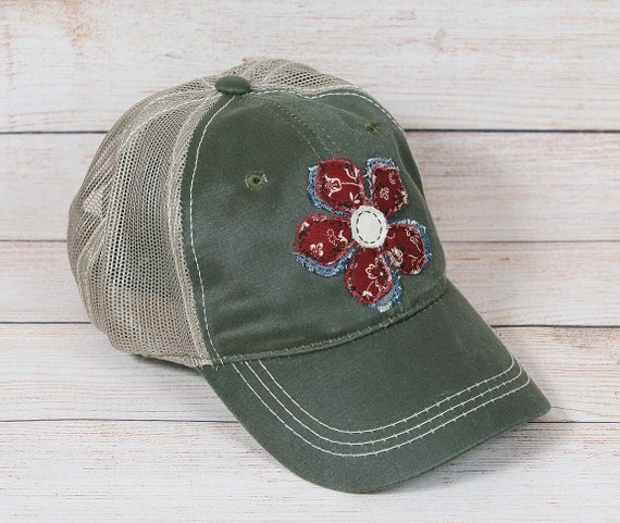 Womens olive trucker hat with handmade flower decal  1f1be7133a