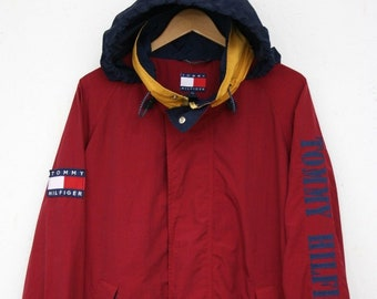 d27a986eb Tommy Hilfiger Vintage 90s Mens Jacket Hooded Big Logo size XL Spell Out  AUTH