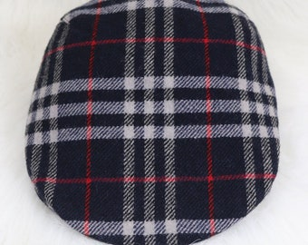 24f62f8b620 BURBERRY Vintage Wool Flat Cap Hat size L ~ 56 cm Nova Check Newsboy Cabbie  AUTH