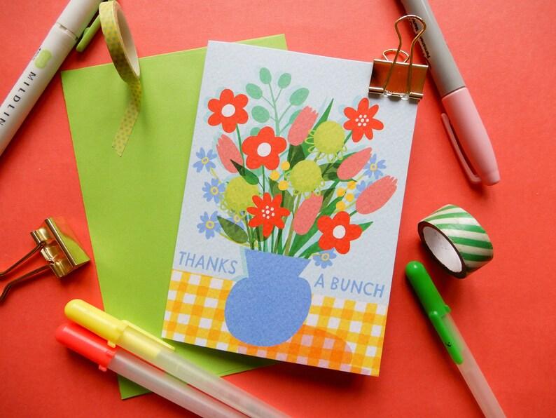 Thank You Card A6 Thanks a bunch Flower pun