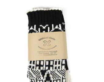 3e8d9ad11b0 Cashmere knitted socks - Hebden Houses fairisle pattern - luxury knitted  socks - black socks - cashmere   lambswool