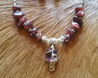 Garnet Necklace with crystal Wire Wrapped Pendant
