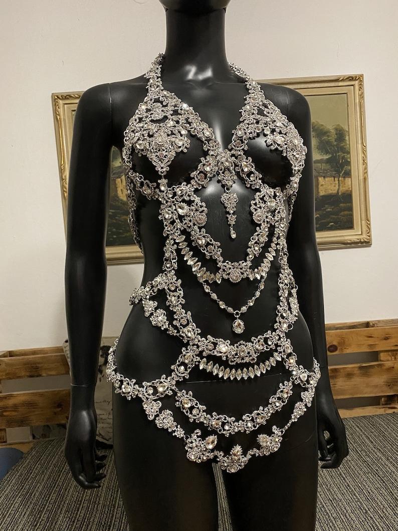 Crystal  body jewelryHarness bodySilver body chainStatement image 1