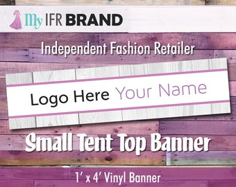 IFR LLR  1' x 4' Small Tent Top Vinyl Banner - White Wood