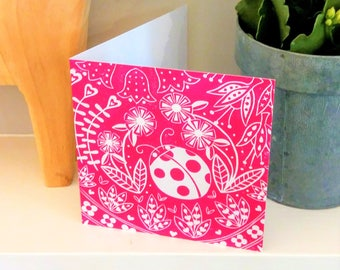 Olivia Ladybird in magenta, Scandinavian folk art print greetings card