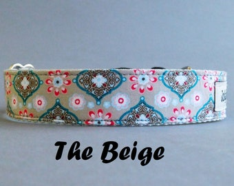 Beige floral girl dog collar with a buckle, Winter pet gift, Female puppy accessory, Girly dogcollar, Extra Extra small to extra large