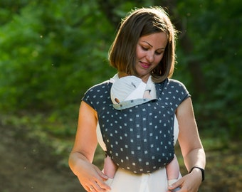 Mei tai baby carrier of linen and cotton double-faced | Baby sling wrap | Meh dai baby carrier