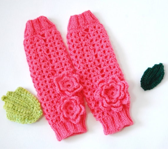 Baby Stulpen 3-9 Monate Häkeln Sie rosa Blume Stulpen für | Etsy
