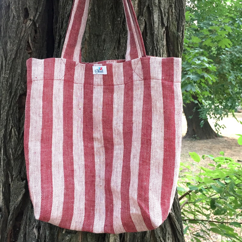 Natural linen tote bag in red and white stripes