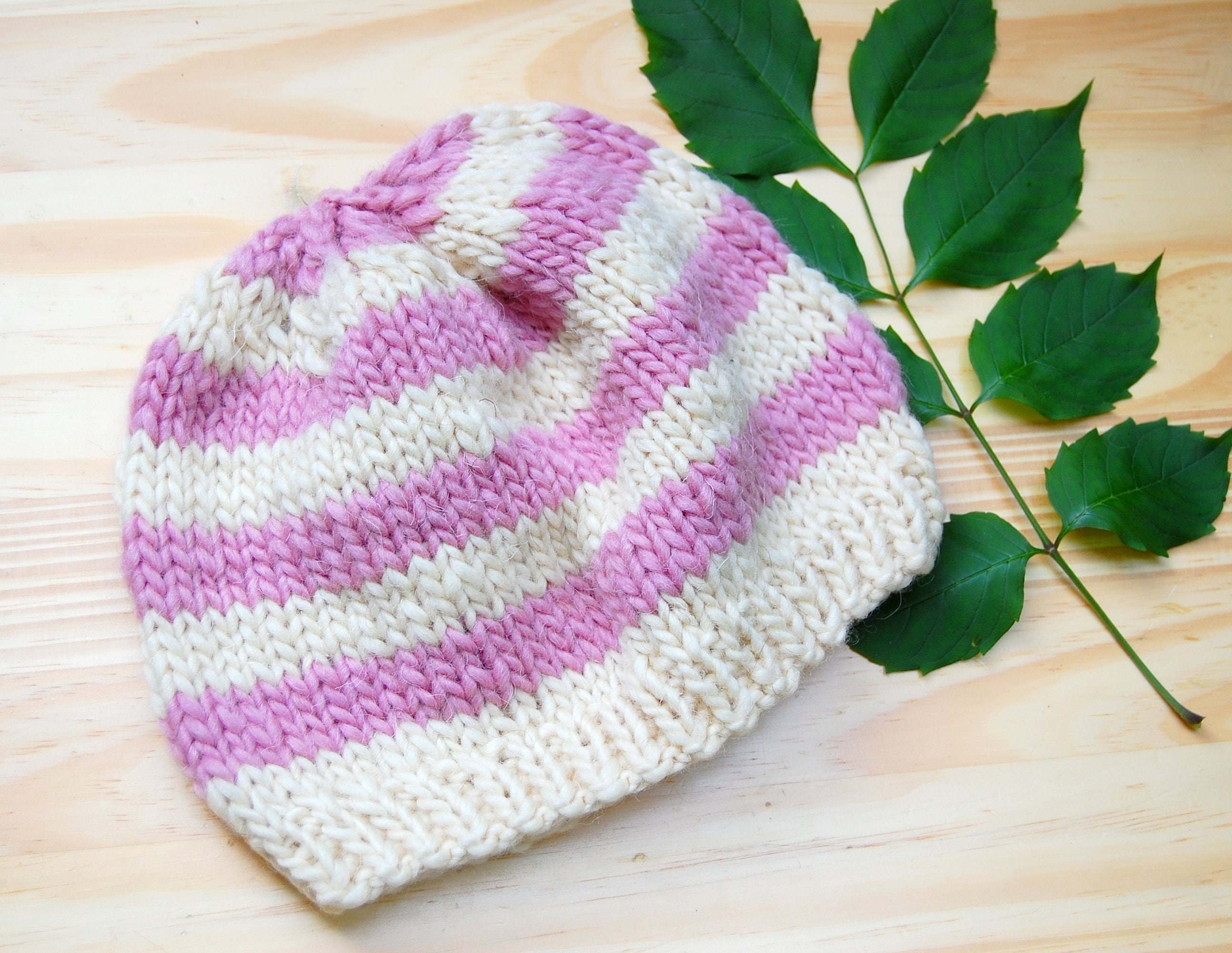 Toddler knitted hat 1-3 years Striped wool winter hat for  9f9fe050e10