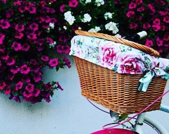 Bicycle Basket For Girls Women Hand-Woven Natural Wicker Bike Handlebar Front