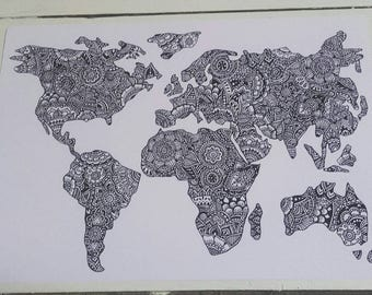 World map mandala etsy world map a4 print henna mehndi art fine art print mandala zentangle black and white gumiabroncs Image collections
