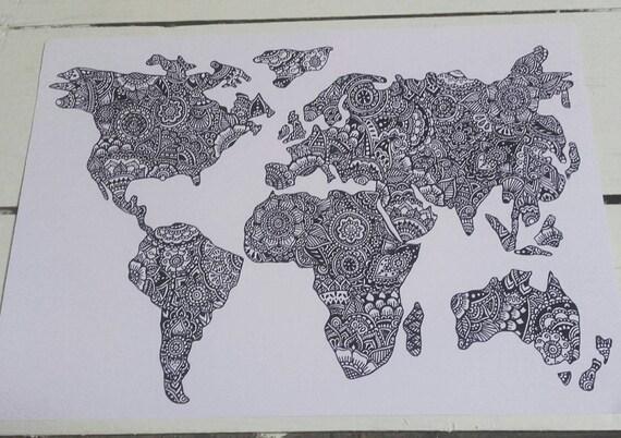 World map a4 print henna mehndi art fine art print etsy image 0 gumiabroncs Images