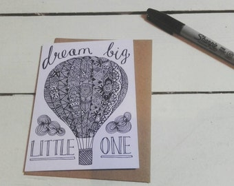 Hot Air Balloon Card - A6 Greetings Card - New Baby - Birthday - Nursery - Henna Mehndi Card - Dream Big Little One - Mandala - Zentangle