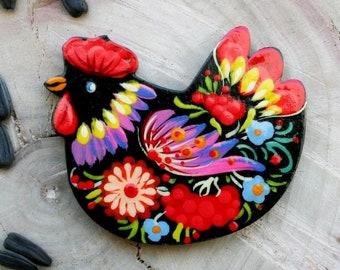 Chicken keeper art fridge magnets set of 8 retro thin decorative magnets