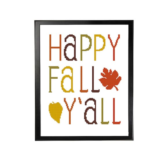 Cross Stitch Pattern Happy Fall Y All Typography Poster Etsy