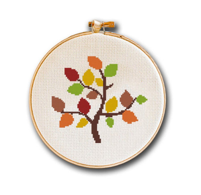 Cross Stitch Pattern Easy Autumn Tree, Trees of Season Series, Modern  Counted Cross Stitch Collectible, Easy Small Pattern