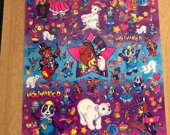 Vintage Lisa Frank XL Sticker Sheet Bears S743-02